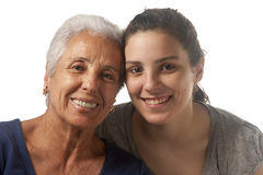 Grandmother and granddaughter. Portrait of a grandmother and her granddaughter Royalty Free Stock Image