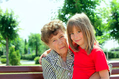 Grandmother with granddaughter Stock Image