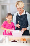 Grandmother granddaughter baking Royalty Free Stock Images