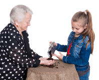 Grandmother and granddaughter checking the quality of coffee bea Royalty Free Stock Photo