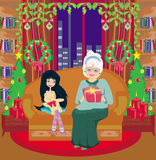 Grandmother and granddaughter - Christmas at home Royalty Free Stock Photography
