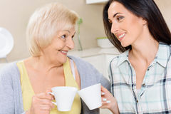 Grandmother and granddaughter drinking tea. Smiling pair. Pair of women in different ages sitting on kitchen background and clinking cups Stock Photo
