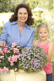 Grandmother With Granddaughter Gardening Stock Photography