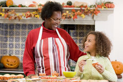 Grandmother and granddaughter at Halloween Royalty Free Stock Photos