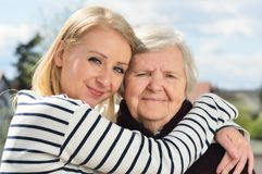 Grandmother and granddaughter. Happy family. Royalty Free Stock Image