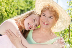 Grandmother and granddaughter happy portrait Royalty Free Stock Photo