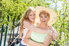 Grandmother and granddaughter happy portrait Stock Photography