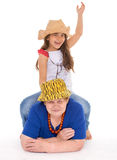 Grandmother and granddaughter in hats. Stock Photo