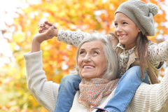 Grandmother and granddaughter having fun Stock Images