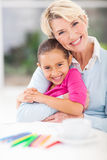 Grandmother granddaughter hugging Royalty Free Stock Images