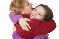 Grandmother and granddaughter hugging Royalty Free Stock Photos
