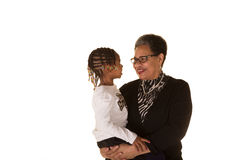 Grandmother and granddaughter isolated against a white background Stock Image