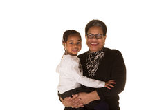 Grandmother and granddaughter isolated against a white background Stock Photos