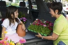 Grandmother and granddaughter loading flowers into back of SUV Royalty Free Stock Photos