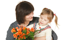 Grandmother and granddaughter looking bunch Stock Photos