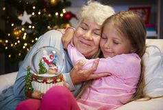 Grandmother with granddaughter. My grandmother always know how to console me Stock Image