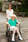 Grandmother and Granddaughter Outdoors Stock Photos