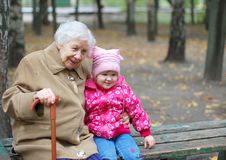 Grandmother and granddaughter in the park Royalty Free Stock Photo