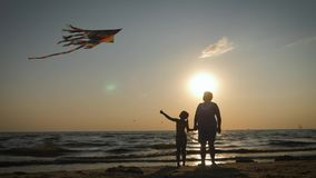Grandmother and granddaughter play with kite on the seashore. Grandmother and granddaughter play with kite on the seashore stock footage