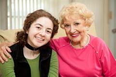Grandmother Granddaughter Portrait Stock Image