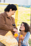 Grandmother granddaughter quality time outdoors Royalty Free Stock Photo