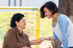 Grandmother granddaughter quality time outdoors Stock Photo
