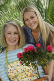 Grandmother And Granddaughter With Rose Plant Royalty Free Stock Photography