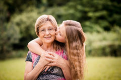 Grandmother with granddaughter Stock Photos