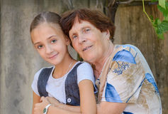 The grandmother with  granddaughter Stock Image