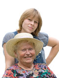 Grandmother and Granddaughter smiling Royalty Free Stock Images