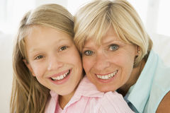 Grandmother and granddaughter smiling Royalty Free Stock Image