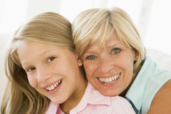 Grandmother and granddaughter smiling Royalty Free Stock Photography