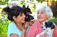 Grandmother and granddaughter with their dogs Royalty Free Stock Photo