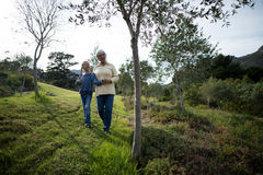 Grandmother and granddaughter walking together in the garden Royalty Free Stock Photos