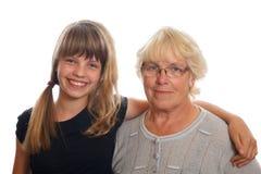Grandmother and granddaughter Stock Photos