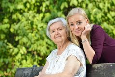 Grandmother and granddaughter. Stock Image