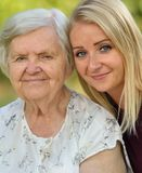 Grandmother and granddaughter. Stock Photo