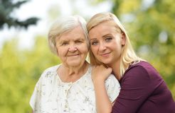 Grandmother and granddaughter. Stock Images