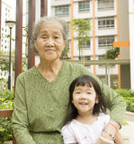 Grandmother and granddaughther stock photos