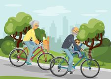 Cycling senior couple with grandchild Royalty Free Stock Photography