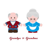 Grandmother and grandfather, cartoon style Stock Photography