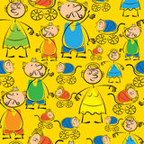Grandmother, grandfather and grandchildren seamless pattern Stock Image