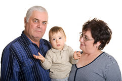 Grandmother, grandfather and grandson Stock Image
