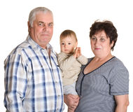 Grandmother, grandfather and grandson Stock Photography