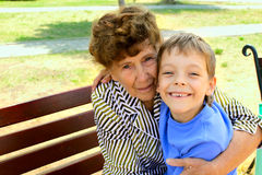 Grandmother with grandson. Happiness grandmother and grandson in the park. Series Stock Image