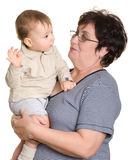 Grandmother and grandson. Royalty Free Stock Images