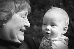 Grandmother with grandson. Black and white of grandmother with grandson Stock Photo