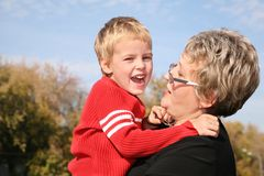 Grandmother with the grandson Stock Images