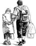 Grandmother and grandson. Vector drawing of the walking old woman with her grandson Stock Photography