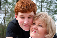 Grandmother and Grandson. Showing affection royalty free stock photo